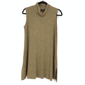 Comfy USA Sz L Cowl Neck Sleeveless Knit Tank Tan